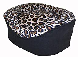 Pampered Pets Oval Pet Bed, X-Small, Black Suede with Black Camel Animal Print