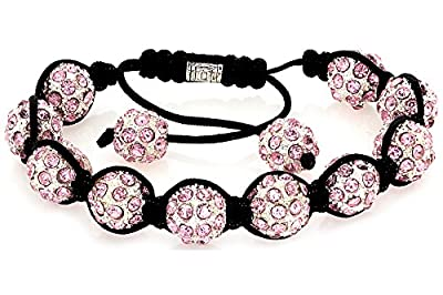 Lux Royal Diamond Pink Fade Pave Crystal Stone Balls Shamballa Bracelet [Jewellery]