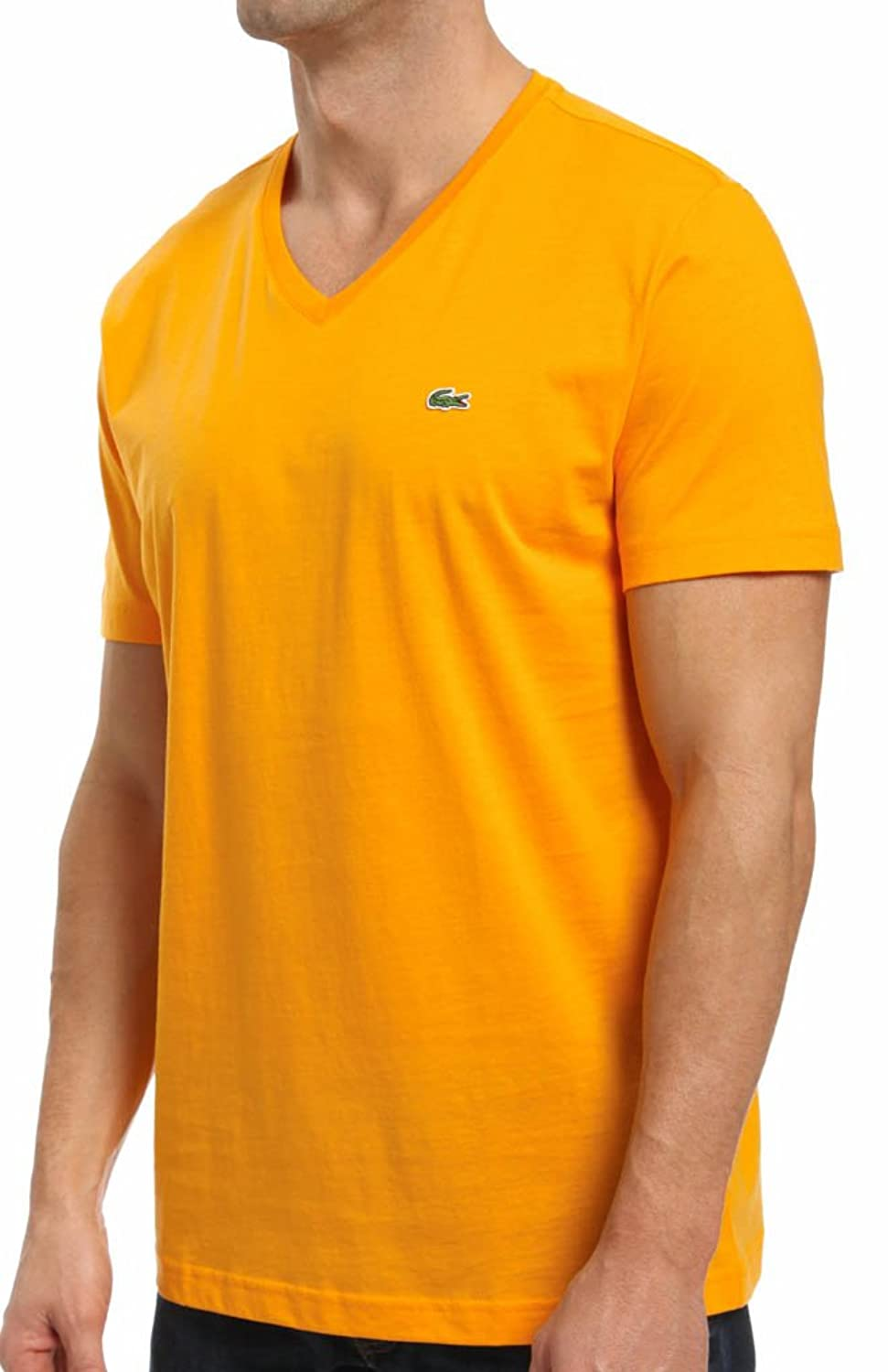 lacoste men 39 s short sleeve pima cotton v neck t shirt ebay