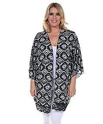 Allora Women's Plus Size Lace Trim Cardigan (1X, WHITE BLACK)
