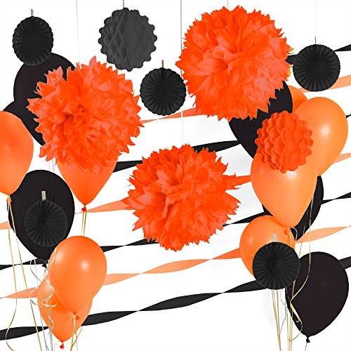 Party Decoration Kit - Orange and Black Party Supplies (Black And Orange Party Decorations)