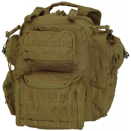 B004T32HMS Voodoo Tactical Improved Matrix Pack Backpack MOLLE – Hydration Compatible – 15-9032 Coyote Brown / Tan