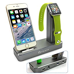 Apple watch stand,FIDEA 5 in 1 Aluminum ,Exchange with 3 kinds of interface ,Fit tor Apple Watch &Iphone 5/6/7/Sumsung & LG Series of products with 3 USB Output to Charge iPad and More(Gray)