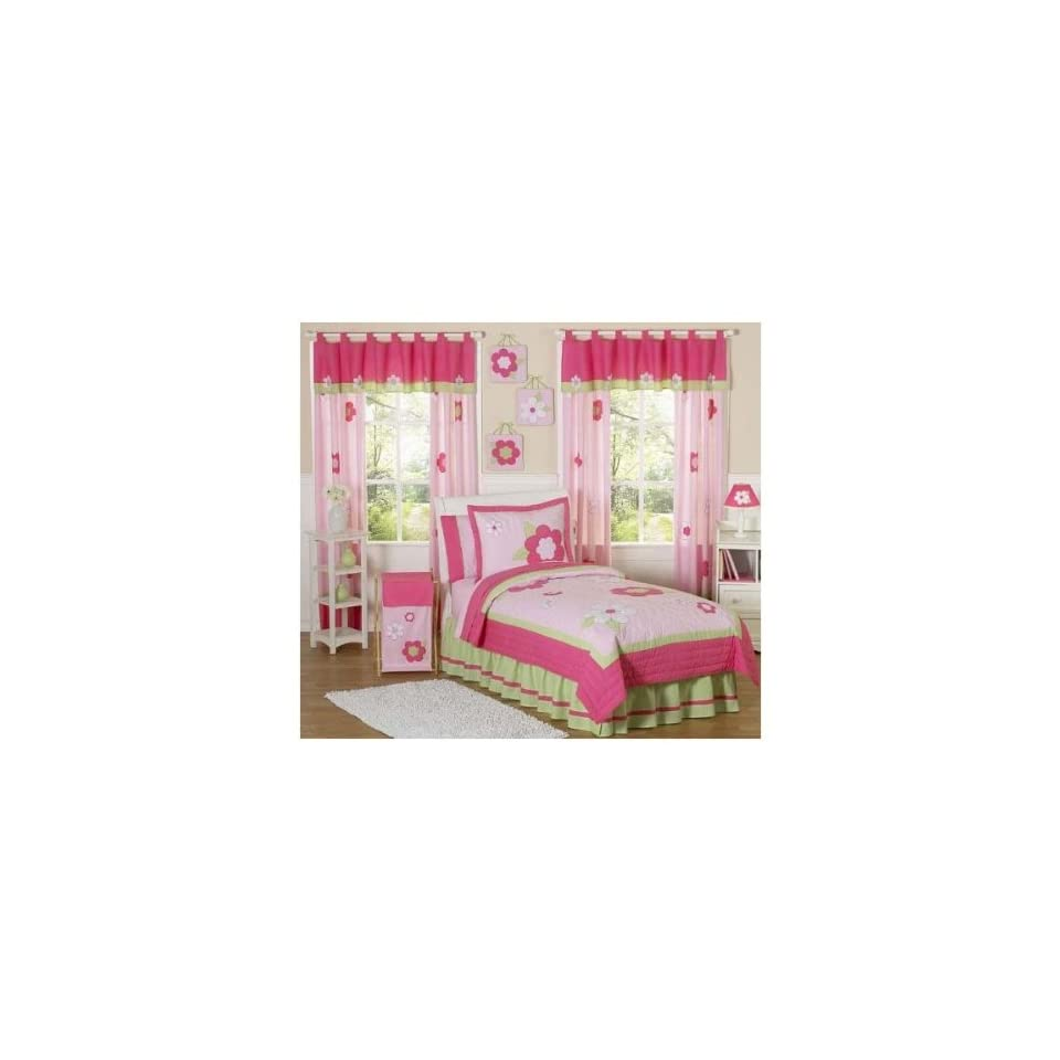 Sweet Jojo Designs Pink and Green Flower Collection Childrens Bedding   4 Piece Twin Set