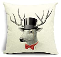Bumud Cotton Linen Animal Square Decorative Throw Pillow Case Cushion Cover (Elk)