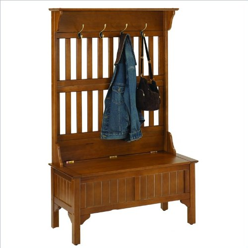 Home Style 5649-49 Full Hall Tree and Storage Bench, Cottage Oak Finish