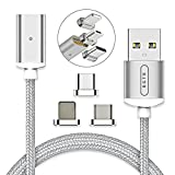 BGTB Gen 4, Universal Magnetic Charging and Data Cable, Nylon Braided, Sync Cord with 2.4A Quick Charging, 3.3 FT with 3 Adapters for Android Micro USB, Type C and Apple Devices (Color: Silver, Tamaño: 3.3 feet)