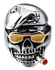 buy Btime Men'S Gothic Titanium Steel Skull Ring With Smoking Cigarette