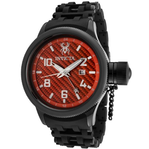 Invicta Men's 0563 Russian Diver Collection GMT Carbon Fiber Dial Black Ion-Plated Watch