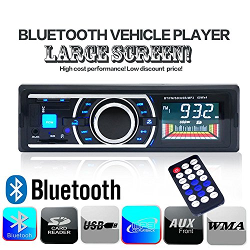 MP3-Tuner-Autoradio-KFZ-Audio-Player-Radio-Receiver-12V-mit-Fernsteuerung-untersttzt-Smartphone-USB-SD-MMC-Slot-LCD-Display