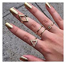 buy Vale® 5Pcs/Set Mid Midi Above Knuckle Ring Band Gold Silver Tip Finger Stacking-Gold