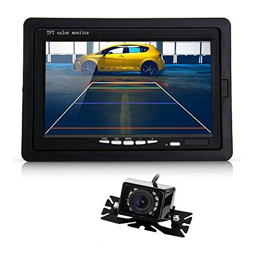 """7"""" Tft Lcd Car Monitor Ir Rear View Reverse Backup 9 Led Night Vision Camera"""