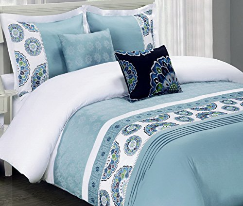 5Pc Contemporary Boho Medallion White Blue Bedding Duvet Cover Set King/Cal King