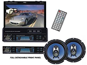 Pyle Complete Audio/Video Package for the Car/Truck/SUV, PLTS77DU 7-Inch Single-DIN In-Dash Motorized TFT/LCD Touchscreen Monitor Receiver with DVD/CD/MP3/MP4/USB/SD/AM-FM/RDS + PL63BL Pair of 6.5-Inch 360-Watt 3-Way Speakers