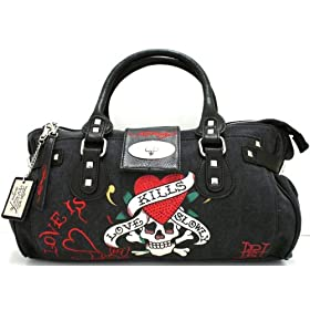 Ed Hardy Diddy Canvas & Leather Large Handbag - Black