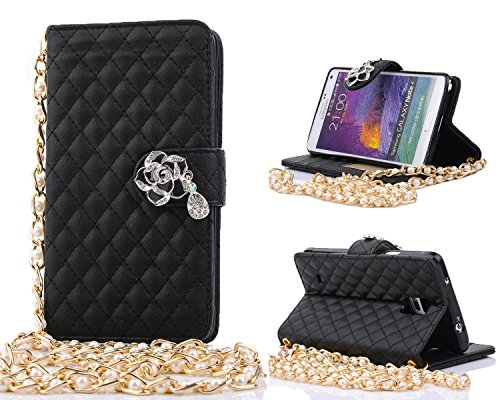Note 4 Case, Galaxy Note 4 Case, ARTMINE Camellia Bling Rhinestone Diamond Buckle Premium PU Leather Flip Folio Book Style Wallet Protective Skin Pouch Phone Case & Magnetic Closure with Credit/ID Card Slot [ Peral Wristlet Chain ] [ Kickstand Feature ] for Samsung Galaxy Note 4 Verizon, AT&T, Sprint, T-Mobile Black