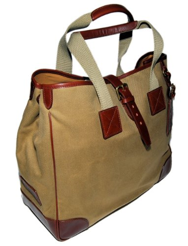 Polo Ralph Lauren Purple Label Mens Canvas Leather Tote Bag Brown Tan