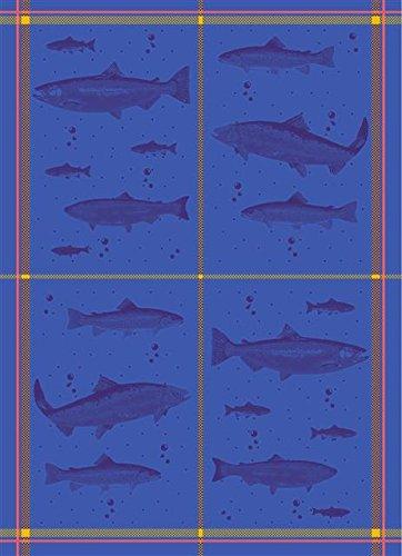 Mierco Fine European Linens 8RFish Blue 100-Percent Cotton Tea Towel Design Table Topper, 20 by 28-Inch, Blue Fish