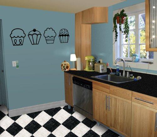 4 Cupcakes - Kitchen / Nursery Vinyl Wall Art Decal Sticker Decor
