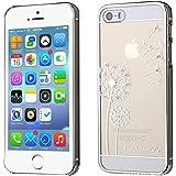 GrandEver Phone Holster Transparent Hard Case, Schwer Hülle Löwenzahn Pattern Etui für AppleiPhone5, 5S, Glänzend Telefon-Kasten Schutzhülle für Mädchen, Handy Taschen für iPhone5, 5S, I Love Freedom (Weiß)