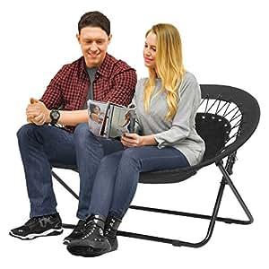 Idea Nova Double Saucer Folding Papasan Chair In Black Patio