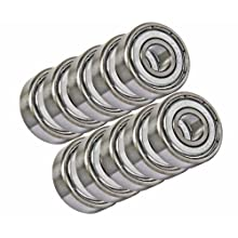 10 Unflanged Shielded Slot Car Axle Bearing 1/8 x 1/4 inch Miniature Ball Bearings VXB Brand