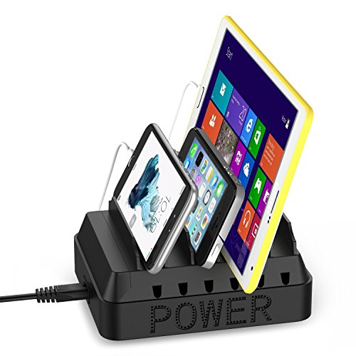 EReach 6台同時充電スタンド 6ポートUSB充電ステーション タブレット・PC・iPhone・Android・Galaxy Nexus Xperia などスマートフォン充電収納対応