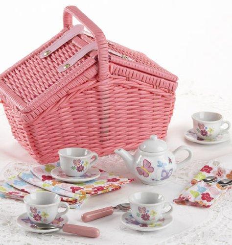 Porcelain 18 Pcs Tea Set In Basket, Wildflower