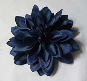 Large Navy Blue Dahlia Hair Flower Clip