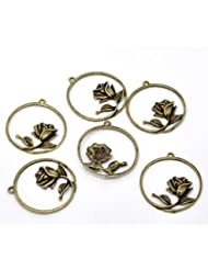 PEPPERLONELY Brand 20 PC Antique Bronze Rose Flower Charm Pendants 1-3/8 X 1-3/8 Inch ( 36MM X 34MM )