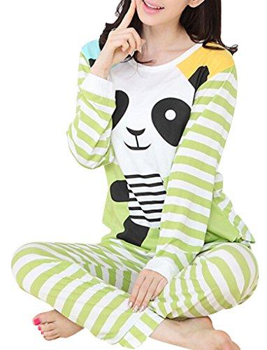 VENTELAN Women Long Sleeve Panda Print Round Neck Pajamas Set Striped Sleepwear