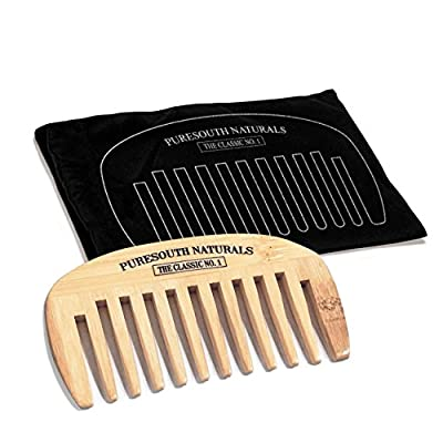 Bamboo Wide Tooth Detangling Comb Set of 2 for Seamless Hair Styling by PureSouth Naturals