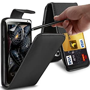 Gadget Giant HTC One X & One X+ & One XL BLACK PU Leather Flip Case / Cover & LCD Touch Screen Stylus 3 in 1 Bundle