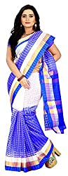 Veer Prabhu Creation Women's Cotton Saree with Blouse Piece (Blue & White)