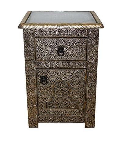 Badia Design Moroccan Silver Nickel Cabinet, Silver Nickel