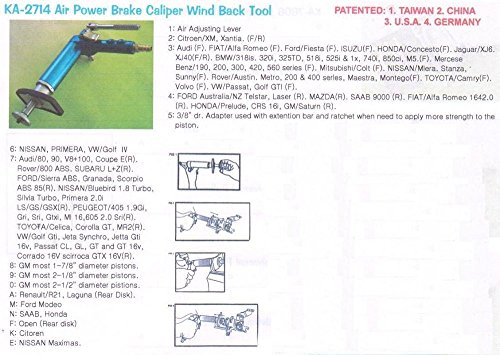 Innovative Air Power Brake Calliper Wind Back Tool (without additional adaptors)