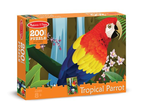 Melissa & Doug Tropical Parrot Cardboard Jigsaw Puzzle, 200-Piece - 1
