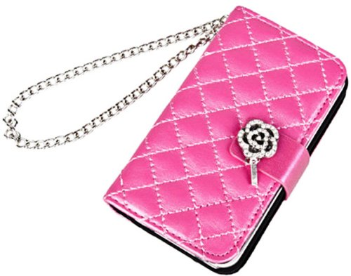 Mylife (Tm) Rose Pink Floral Crystal Design- Textured Koskin Faux Leather (Lanyard Strap + Card And Id Holder + Magnetic Detachable Closing) Slim Wallet For Iphone 4/4S (4G) 4Th Generation Touch Phone (External Rugged Synthetic Leather With Magnetic Clip
