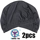 QY 2Pack Superior Polyester Cloth Fabric Bathing Cap Swimming Caps Swimming Hats For Water Sports, Classic Pure...
