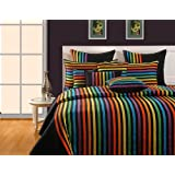 Swayam Magical Linea Stripes Cotton Double Bedsheet With 2 Pillow Covers - Multi Black Stripes