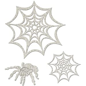 "Die-Cut Grey Chipboard Embellishments-Spider & Webs 3/Pkg, up to 5""x3.8"""