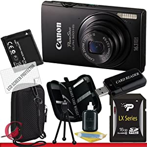Canon PowerShot ELPH 320 HS Digital Camera (Black) 16GB Package 2