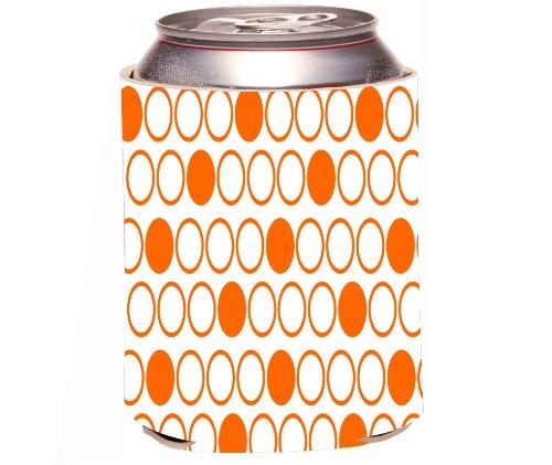 Rikki Knight Beer Can Soda Drinks Cooler Koozie, Inverted Orange Polka Dots Design front-559175