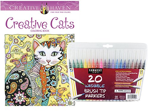 Sargent Art Washable Firm Brush Tip Markers In A Case Set Of 20 And Dover Adult Coloring Book Creative Cats By Marjorie Sarnat Stress Relieving Designs