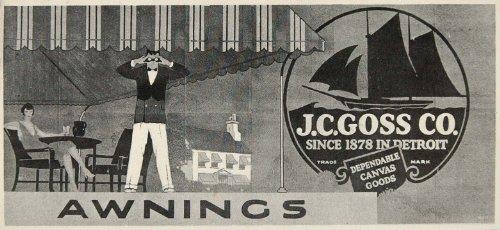 1926 Billboard Ad Cafe Canvas Awnings J.C. Goss Detroit ORIGINAL HISTORIC IMAGE - Original Halftone Print