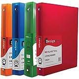 JAM Paper® Designders - Assorted 1 Inch Width Plastic 3 Ring Binders - Red, Green, Blue & Orange - 4 Binders per Pack