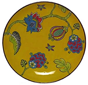 "Mottled Hand Painted Ceramic Yellow Floral Dinner Plate, 10""D"