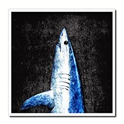 Shark Fish Modern Art 14617 Custom Framed Giclee Print on Canvas Nautical Beach Fishing Design Restaurant Home Wall Interior Decoration Souvenir Gift Ideas - Black 10\