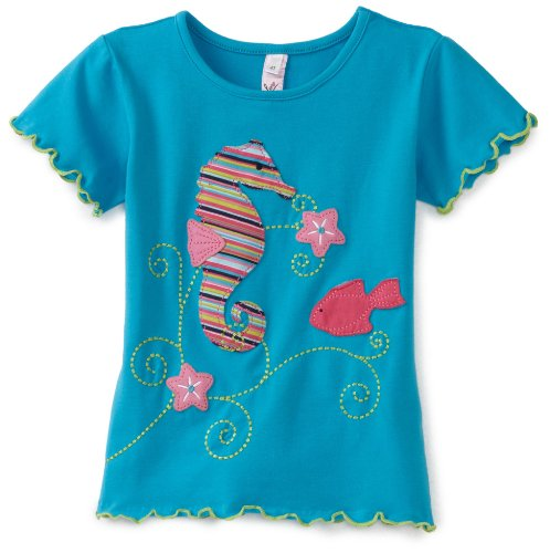 Love U Lots Girls 2-6X Sea Horse And Fish Applique Baby Tee