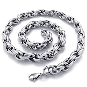 Konov Jewellery Polished Stainless Steel Mens Necklace Curb Link Chain, Colour Silver, Length 56cm 22 inch from Pin Zhen